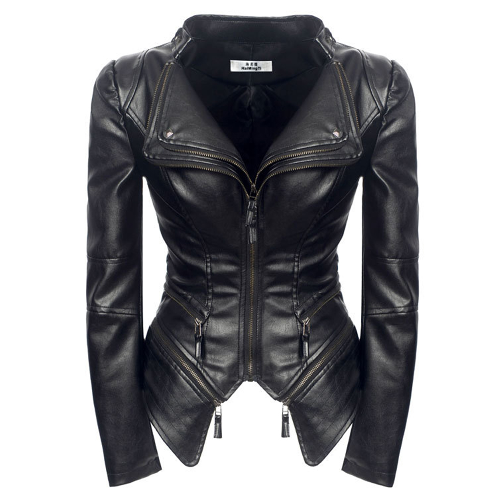 Women Spring coat Black Fashion Motorcycle Jacket 2019 Outerwear faux   leather   PU Jacket Gothic faux   leather   coats