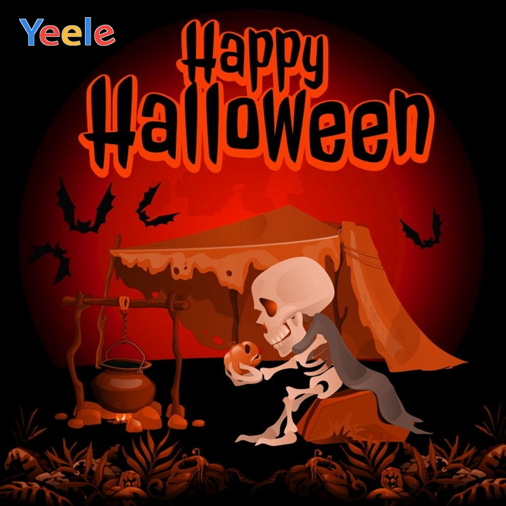 Yeele Halloween Party Backdrop Bat Skeleton Tent Picnic Trick Or Treat Customized Vinyl Photography Background For Photo Studio in Background from Consumer Electronics