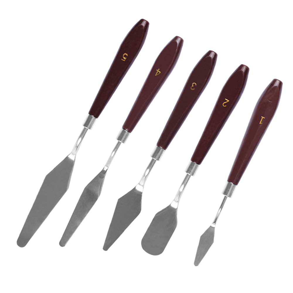 5PCS Mixed Palette Knife Painting Stainless Steel Scraper Spatula Art Supplies For Artist Canvas Oil Paint Color Mixing