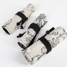 Large-Volume Pencil Roll Sketch Lead Case Black Peony And Wind Printed Canvas Pen Curtain 24 36 48 72 Hole DC392
