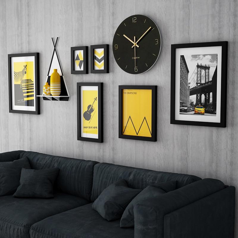 Классическая фоторамка, украшение на стену, Европейский стиль, домашний дизайн, деревянная фоторамка, набор с часами, современная живопись,