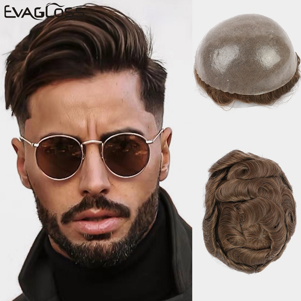EVAGLOSS Mens Toupee 0.12-0.14mm Durable Skin Base Hair 6 Inches Indian Human Hair Toupee Hair System Prosthesis Mens Wig