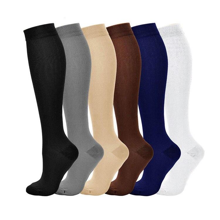 Compress Socks Pressure Leg Men Women 15-20 Mmhg Running Sport Travel Compression Stockings Multi Color Nylon Black White Socks