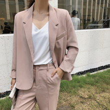 Stylish Korean Ladies Blazer Solid Pink Loose Casual Suit Jacket Long Sleeve Blazzer Mujer Vintage Office Women Blazer MM60NXZ