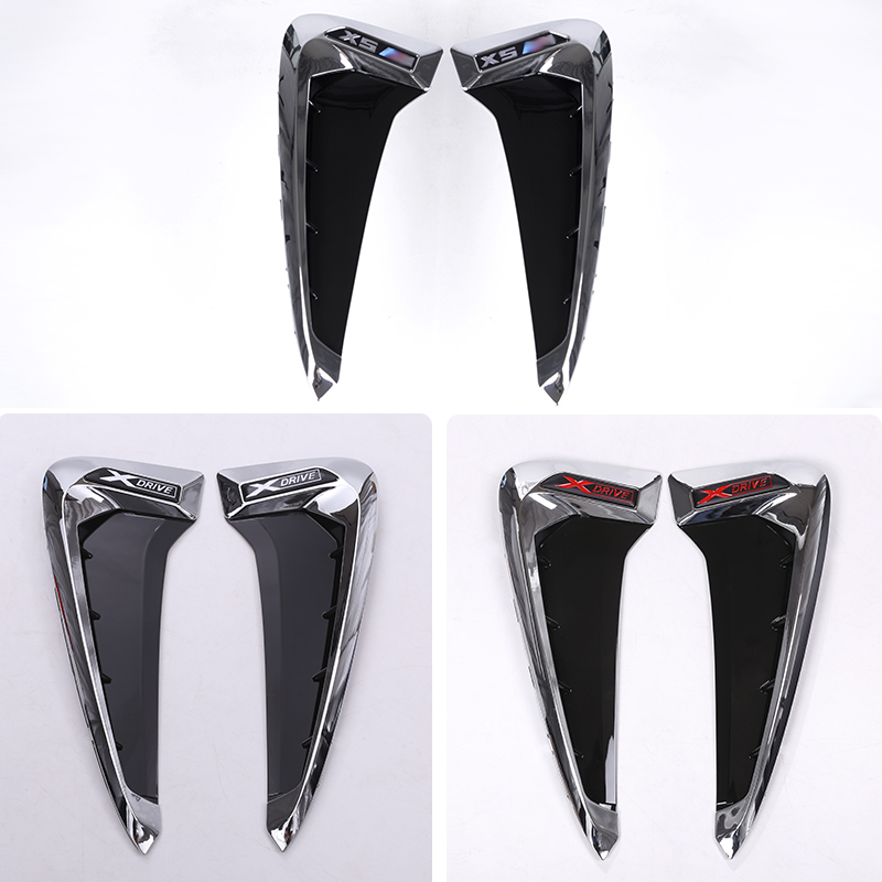 cheapest 2Pcs set ABS Car Front Fender Side Air Vent Cover Trim Car-styling For BMW X Series X5 F15 X5M F85 Shark Gills Side Vent Sticker