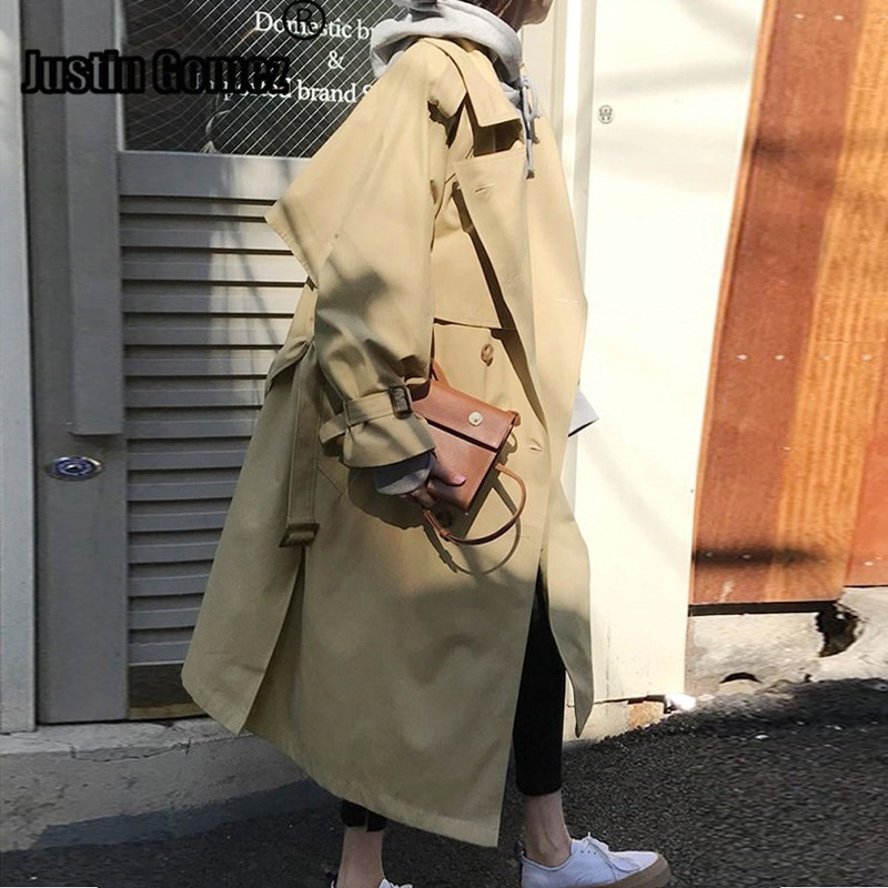 Russian Style loose oversized Women Fall Winter Mid-long   Trench   Coat Belted Cloak overcoats Windbreaker Abrigos