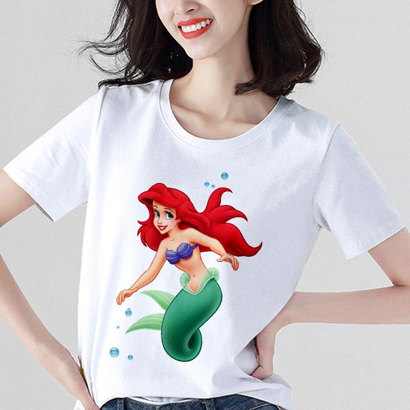 2019 New Summer Hipster Thin Section Tops Short Sleeve Tshirt Clothes T Shirt Women Cute Mermaid Printed Kawaii Harajuku T-shirt
