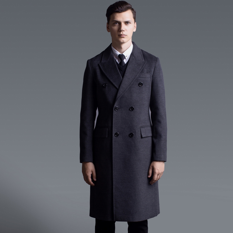 Double Breasted Luxury Long Style Solid Color Mens Jackets And Coats Plus Size 6xl Fashion Cashmere Man Trench