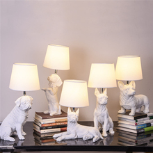 Nordic Animal Puppy LED Table Lamps Modern Bedroom Bedside Lamp Living Room Decoration Light Resin Industrial