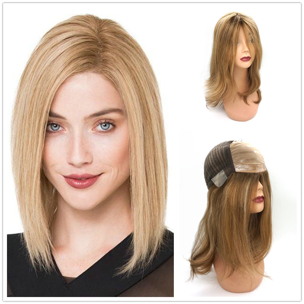 Hstonir Jewish Wigs For Women Pre Plucked Silk Top Human Hair Wigs Pelucas De Mujer Perruque Demi Tete European Remy Hair G028