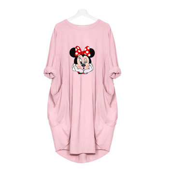Dress Women Spring Minnie Cartoon Printed Pocket Loose Dresses Vintage Maxi Oversized Party Casual Plus Size