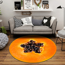 Simanfei Round Carpet Fruit Non-slip Absorbent Living Room Rug Fluffy Yoga Mat Bedroom Floor Mat Office Chair Area Rugs miracille cartoo style alpaca pattern round carpet non slip bath mat soft fluffy coral velvet area rug for living room decor
