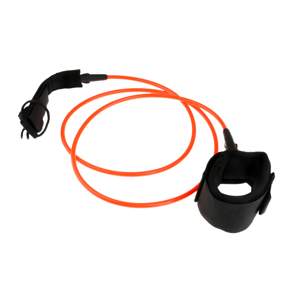 5ft Orange Straight TPU Surfboard Leash Surf Board Leg Rope - 7mm Thickness Stand UP Paddle Board Leash Strap