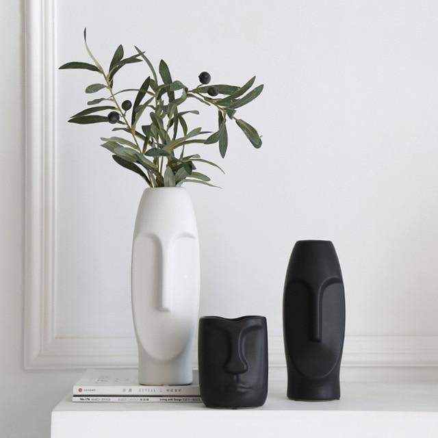 VILEAD More Size Ceramic Face Vase Figurines Creative Europe Ornament Living Room Study Porch Craft Home Decoration Accessories 4