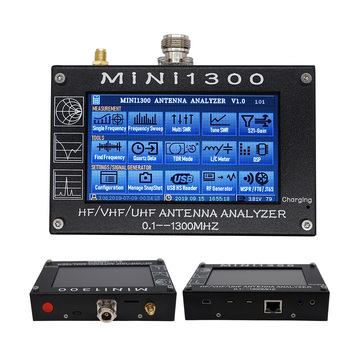 MINI1300 Touch Screen Antenna Analyzer 0.1-1300MHZ  Full-Brand Vector VWA antenna analyzer 4.3inch LCD 1.5A Battery Inside