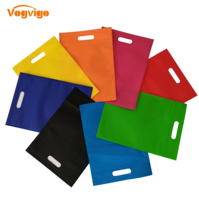 VOGVIGO Environmental Solid Color Storage Bags Handbag Foldable Shopping Bags Reusable Folding Grocery Nylon Tote Bag Wholesale