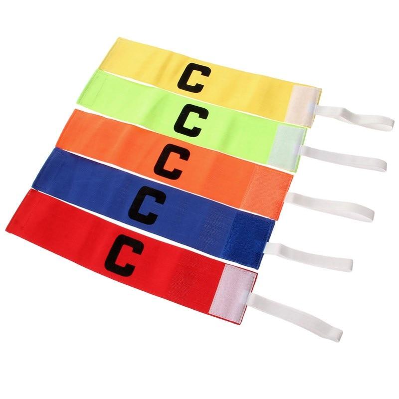 2 szt. Piłka nożna regulowane opaski kapitana elastyczne opaski dla graczy fluorescencyjna opaska na ramię sport Nylon 5 kolorów