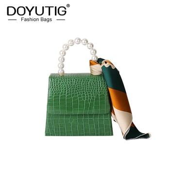 DOYUTIG Spring Women's Luxury Genuine Leather Mini Handbag With Pearl Handle & Silk Scarf Crocodile PatternCross-body Flap F717