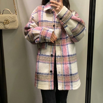 New Autumn Winter Women Vintage Plaid Shirt Jacket Casual Pockets Thick Outwear Tops Loose Warm Coat Female Chaqueta Mujer 2