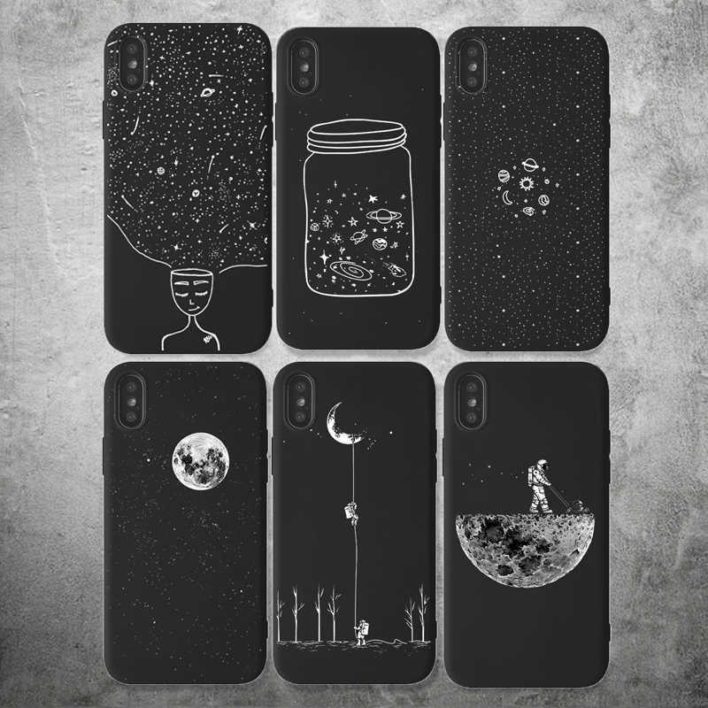 Space Cartoon Pattern Funda per iPhone 7 XR custodia morbida in Silicone per iPhone 11 Pro XR X XS MAX 8 7 6 6S Plus custodia antiurto