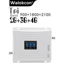 Gsm 900 dcs 1800 wcdma 2100 900mhzの携帯信号ブースター 70dB利得 2 グラム 3 グラム 4 グラムトライバンド携帯信号リピータgsm B1 B3 アンプ
