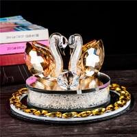 High Quality Car Ornaments Crystal Swan Kiss Car Perfume Diamond Base Decoration Auto Accessories Elegant