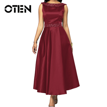 OTEN O-Neck Elegant High Waist Long Dresses Women Sleeveless Evening Party Backless 2020 Spring Patchwork Solid Color Female