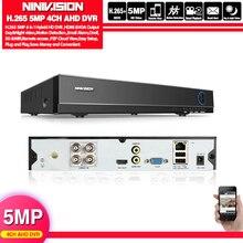 H265 + NINIVISION 5MP 4MP 4CH 4 kanal 6 in 1 XMEYE hibrid WIFI TVi CVI NVR AHD CCTV DVR gözetim Video kaydedici