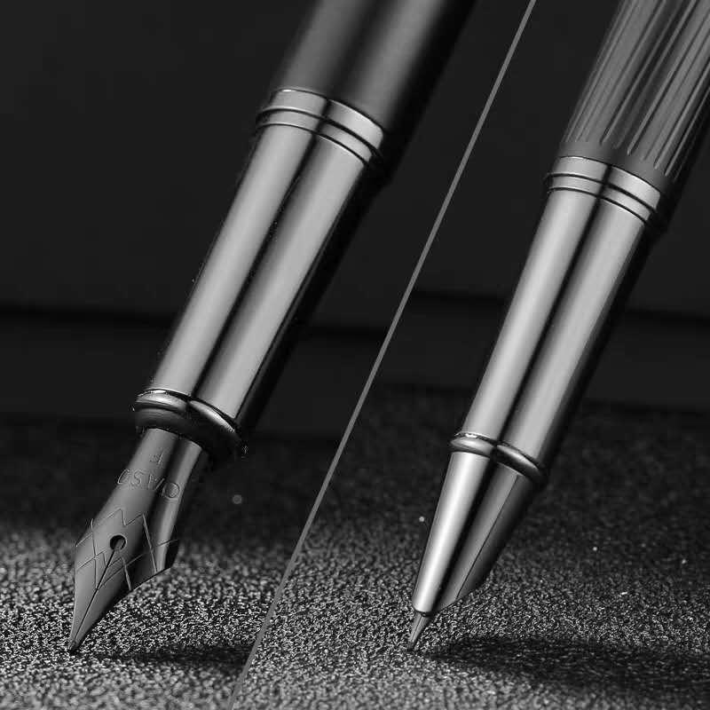 OS Fountain Pen Metal Ink Pen Convetrer Filler Black EF/Fine Nib Stationery Office school supplies Business Writing Gift