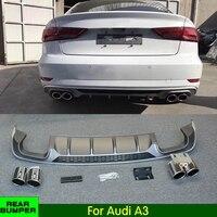 PP Rear Bumper Lip Diffuser for Audi A3 Standard / Sline / Standard Hatchback / Hatchback Sline 2017 2018 Rear lip rear spoiler
