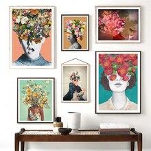 Винтажная девушка бабочка цветок настенная живопись холст Абстрактные