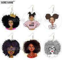 Drop-Earrings Melanin Natural-Hair Wooden Afro Cruly Queen Poppin SOMESOOR Black Girl