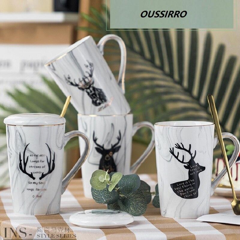 Oussirro estilo europeu casal caneca simples cerâmica canecas de café tampa e colher com caixa de presente presente de natal para amigos