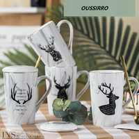 OUSSIRRO European style Couple Mug Simple Ceramics coffee Mugs Lid and Spoon with Gift Box Christmas Gift for Friends