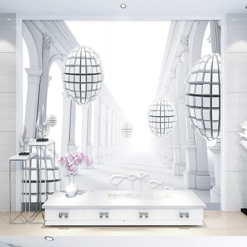 Custom Large Mural 3D Wallpaper Modern Creative 3D Space European Corridor Sphere Bedroom TV Back Wall Decor Deep 5D Embossed