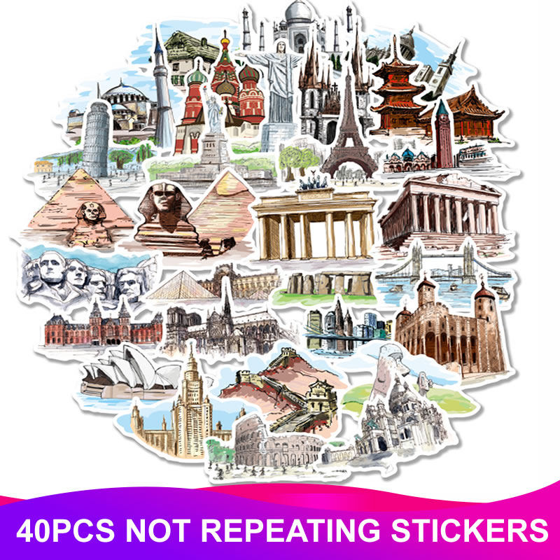 40pcs/Pack World Architecture Stickers Waterproof PVC Skateboard Luggage Suitcase Guitar Scrapbooking Funny Girl Kids Sticker