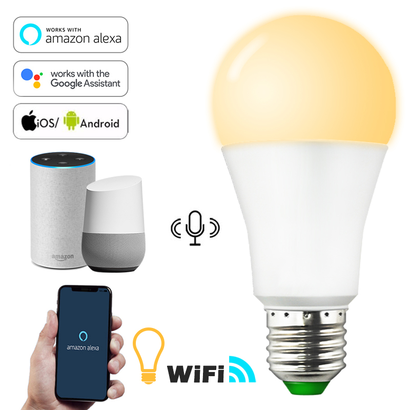 E27 B22 Wifi Smart LED Light Bulb 15W Intellegent Warn Lighting Dimmable LED Lamp App Control Work With Alexa Google Assistant