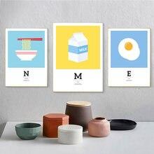 Мультяшный постер в виде молочной лапши и яйца Детская Картина