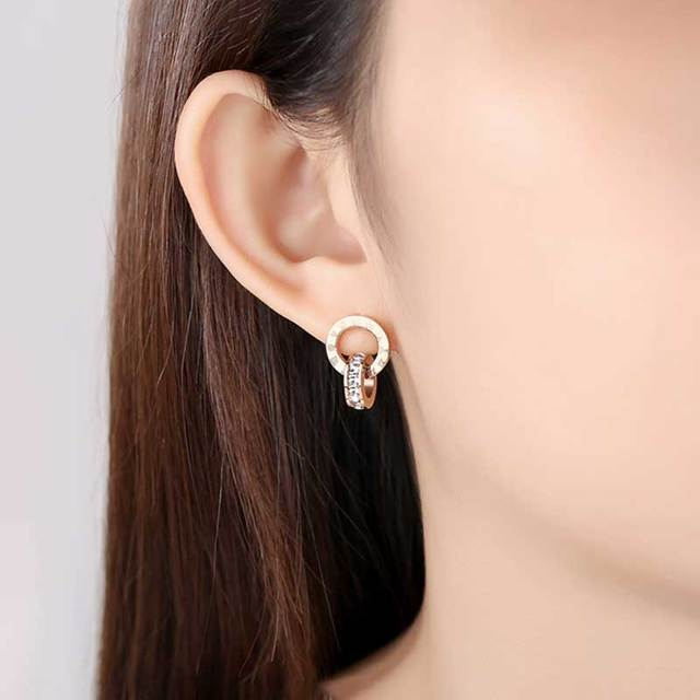 Top Brand Hight Quality Titanium Steel Double Wound Roman Numerals Crystal Stud Earrings For Women Gift Jewelry 6