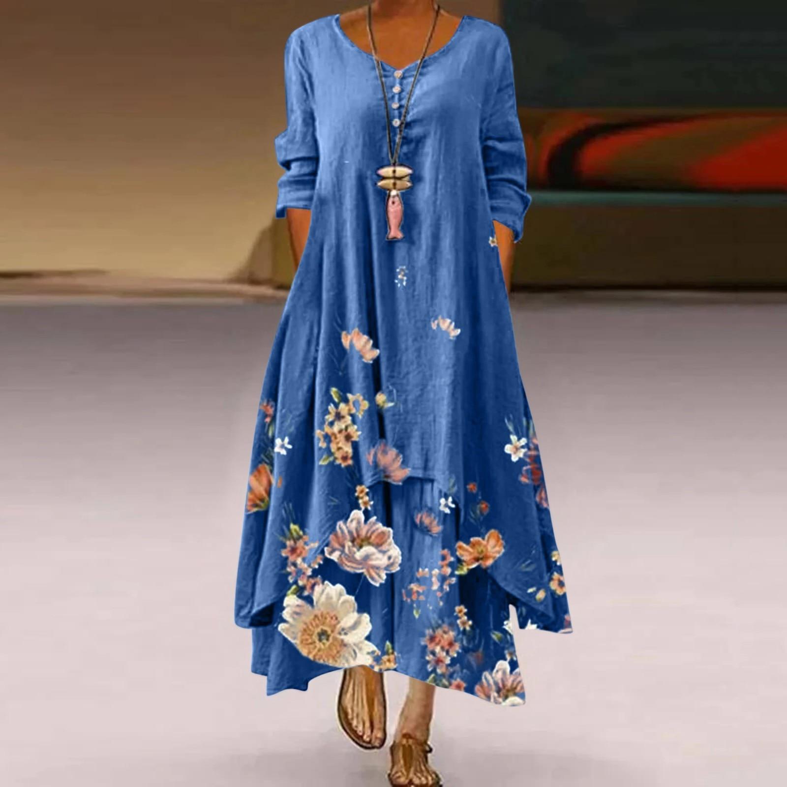 Женская обувь в стиле «Бохо свободное платье Цветочный принт платья с О-образным вырезом с длинным рукавом платье с разной длиной подола; Дл...