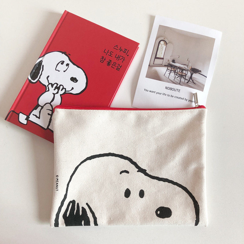 SIXONE Simple Style Rogue Dog Pen Bag Cosmetic Bag Cartoon Printed Canvas Handbag Cute Puppy Pencil Case Personality Storage Bag