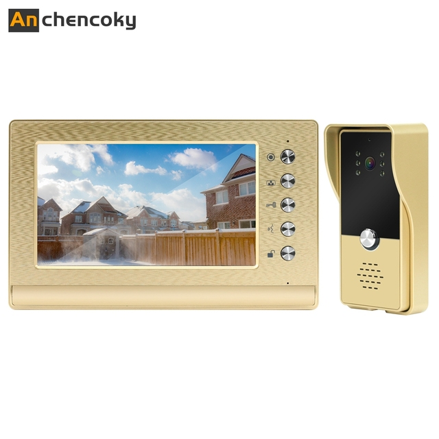 Anchencoky Video Intercom Wired 7inch Video Doorbell With 1000TVL Call Panel Support Unlock For Home Video Door Phone System