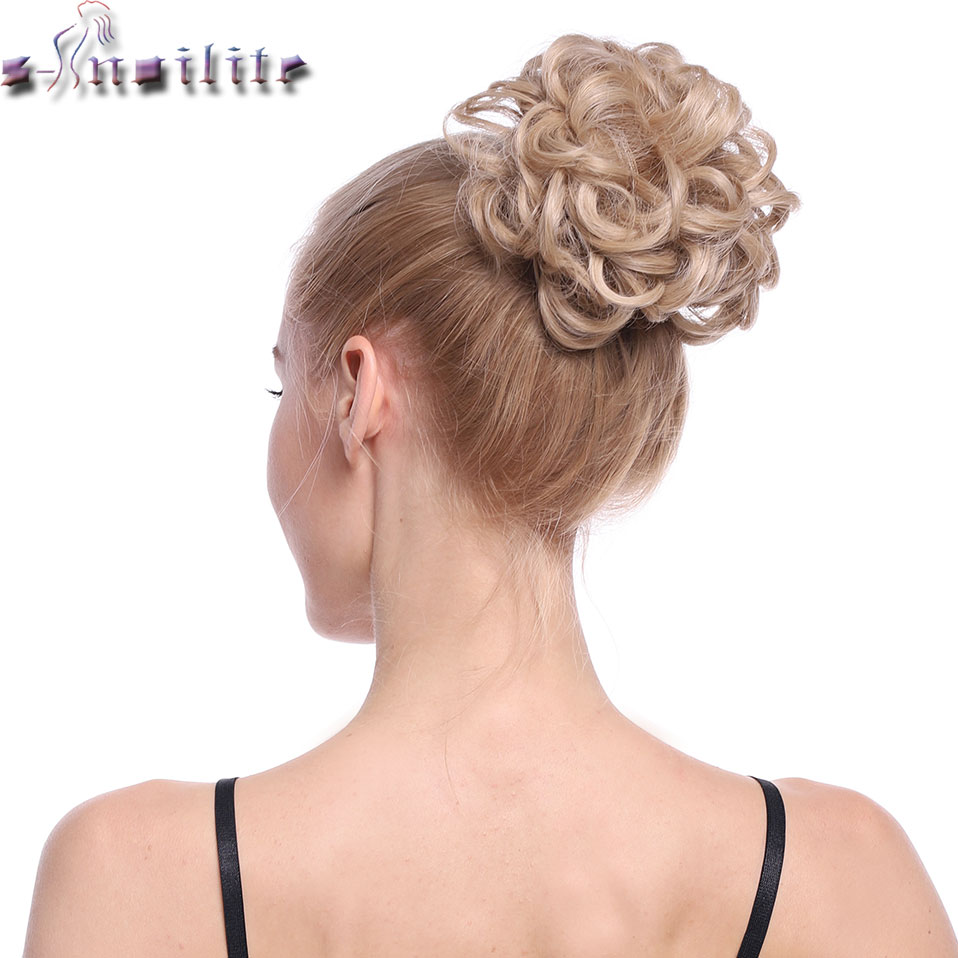 Snoilite 25color Elastic Chignon Hair Extension Synthetic Scrunchies Bun Hair Updo Donut Fake Hair Hairpiece For Women