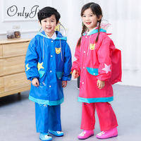 Only Jime Fashion Waterproof Jumpsuit Raincoat For Children With Hood Cartoon Kids One Piece Raincoat Travel Kids Rain Gear Set