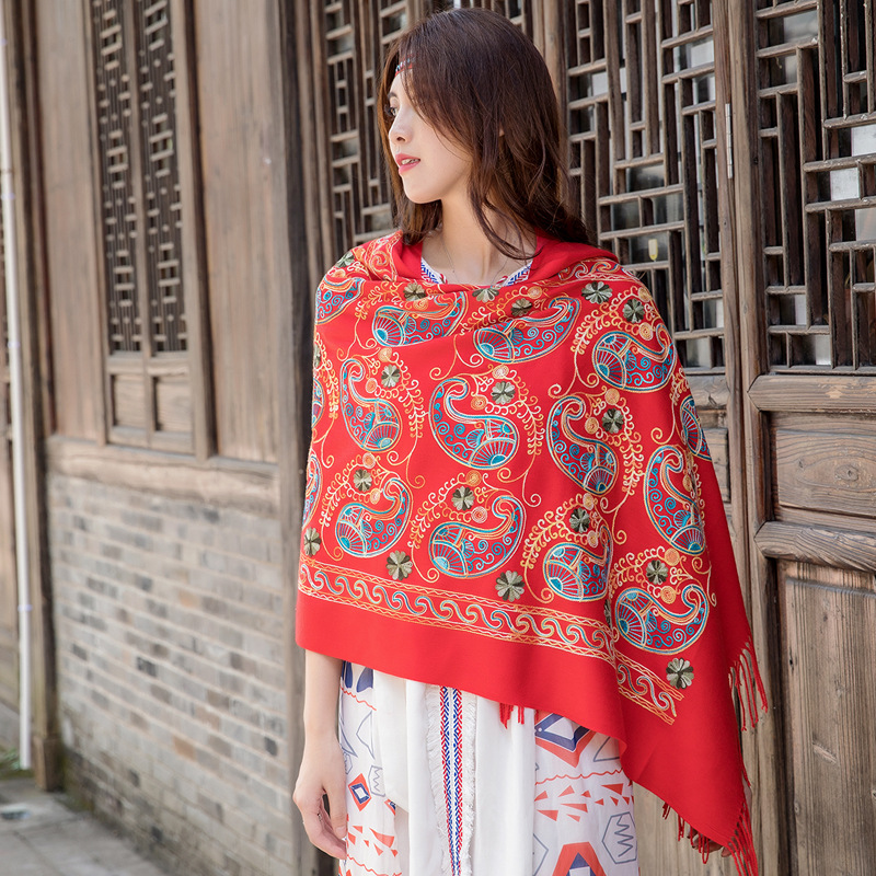 Dual-use Female Super Thick Square Shawl Autumn And Winter Women Ethnic Style Travel Air Conditioning Shawl Scarf