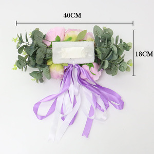 Image 4 - 1セット造花結婚式の車の装飾キットロマンチックなシルク偽ローズ牡丹の花バレンタインデーのギフトパーティー祭用品