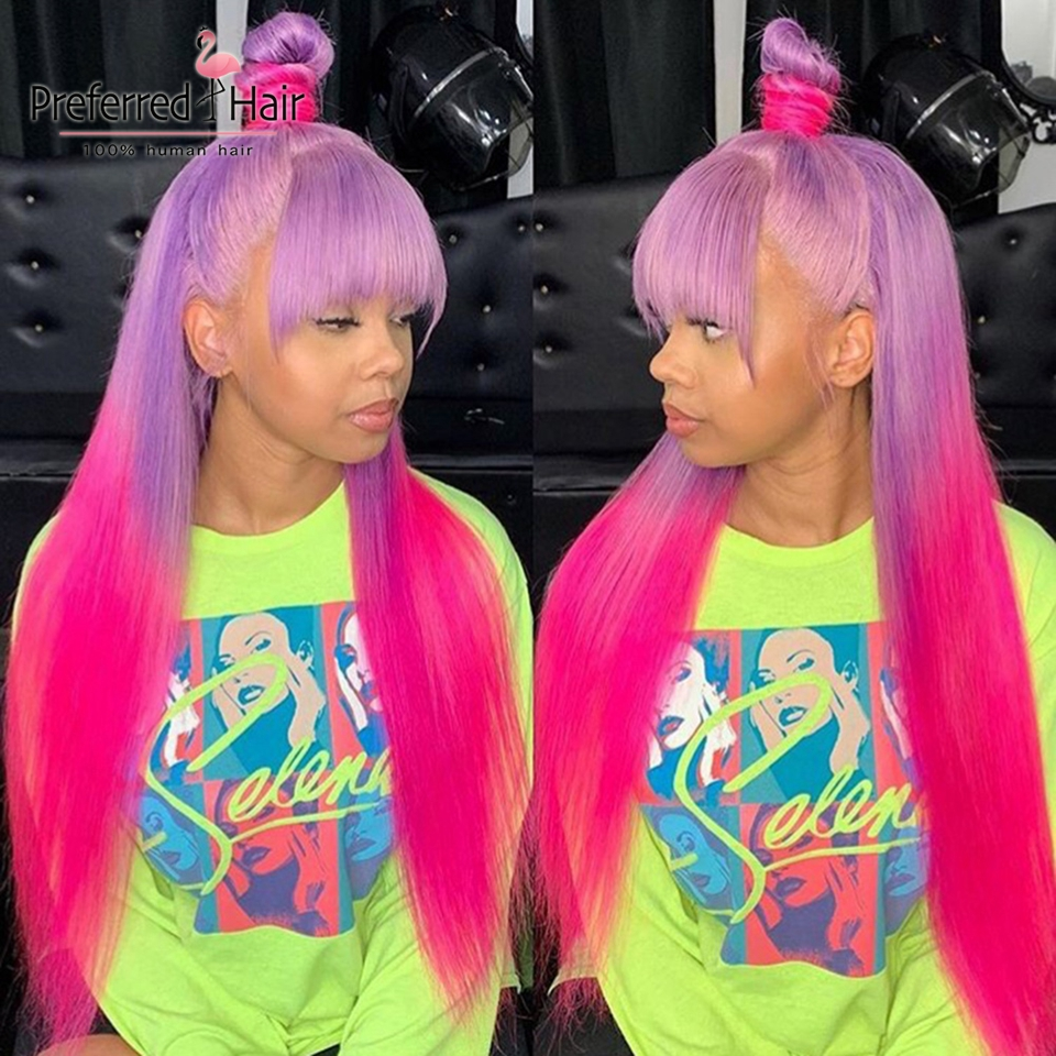 Preferred Remy Brazilian Straight Lace Front Wig With Bangs Purple To Pink Ombre Human Hair Wig Glueless Wigs For Black Women
