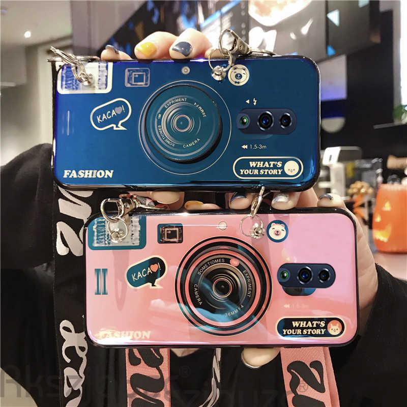 3D هاتف مزود بكاميرا حالة ل ممن لهم F7 F9 F11 K3 5Q Realme 1 2 3 5 X C1 U1 برو لايت FindX رينو Z A5 A9 2020 لينة غطاء مع الحبل