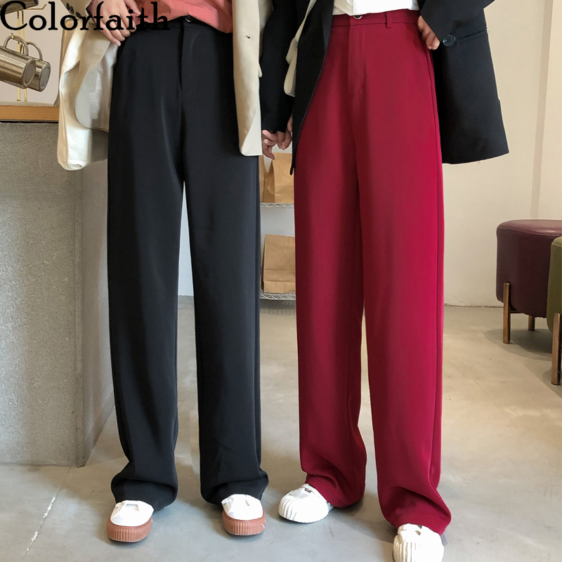 Colorfaith New 2020 Spring Summer Women Pants Straight High Waist Loose Office Korean Style Pockets Casual Long Trousers P913