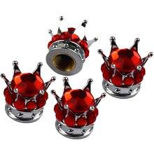 4 шт. Серебряная корона Красный бриллиант шиномонтаж/колесо, Шпиндельный колпачки клапана автомобиля грузовика
